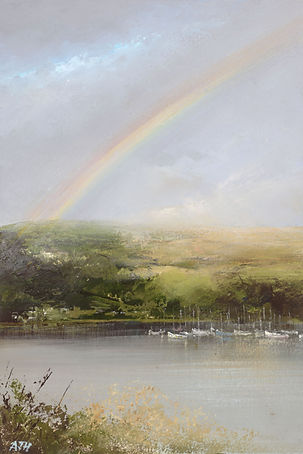 april showers over the river dart - oil