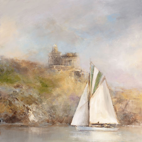 'Sailing By', St Mawes Castle - oil on b