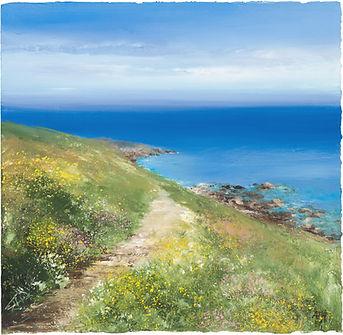 a painting of a coastal path in cornwall by Amanda Hoskin