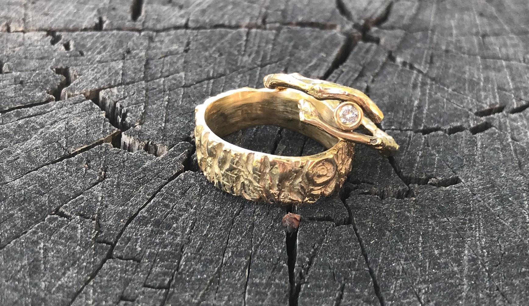 Diamond Yellow Gold Branch Ring & Tree Bark Band
