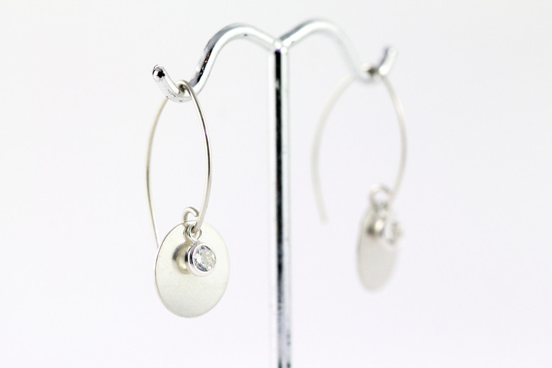 Silver Disc and CZ earrings