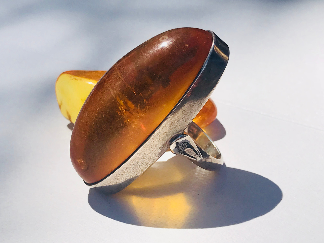 Brown Amber & Sterling Silver