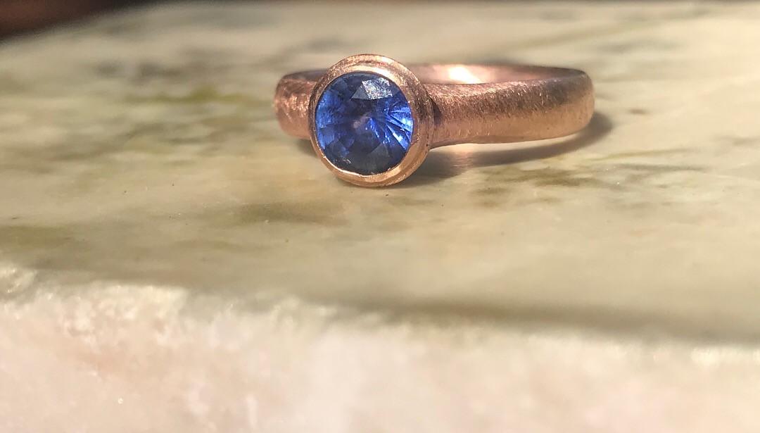 Ceylon Blue Sapphire and Rose Gold