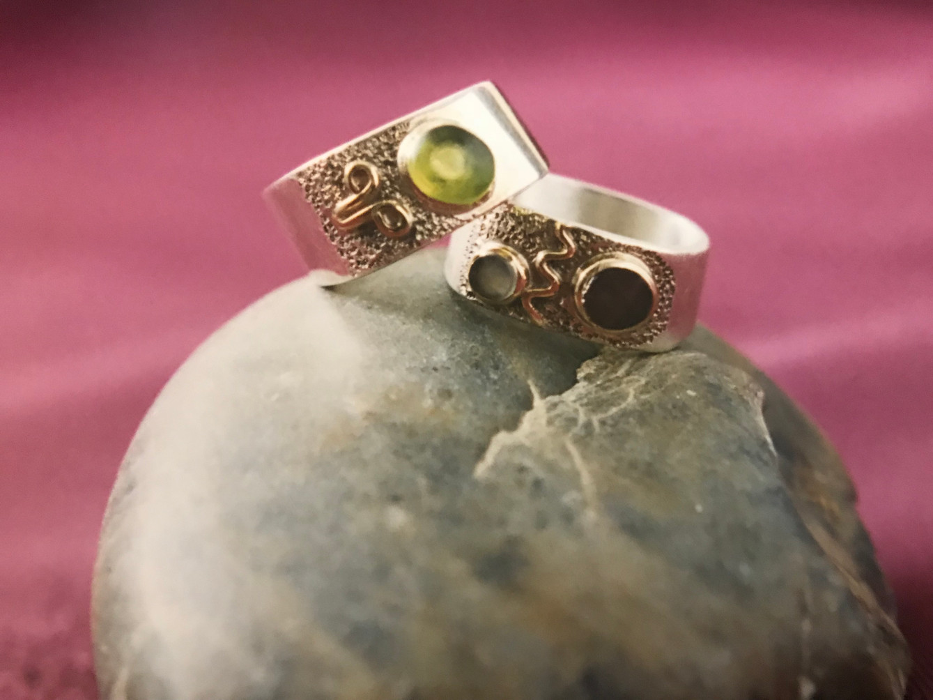 Green Peridot, Gold, & Silver.  Moonstone, Garnet, Gold & Silver