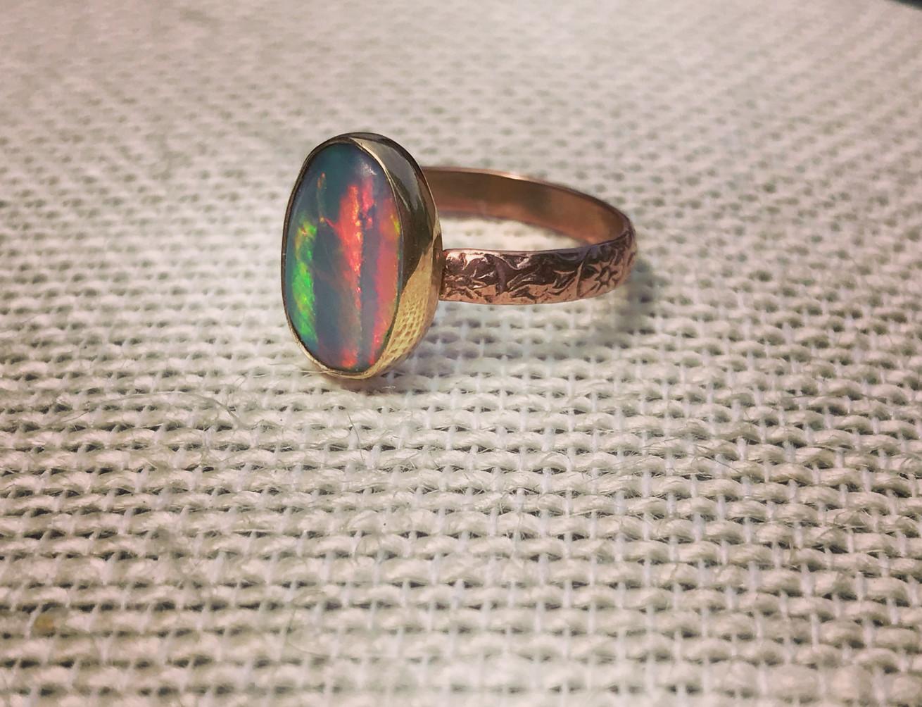 Australian Black Opal set in Rose Gold