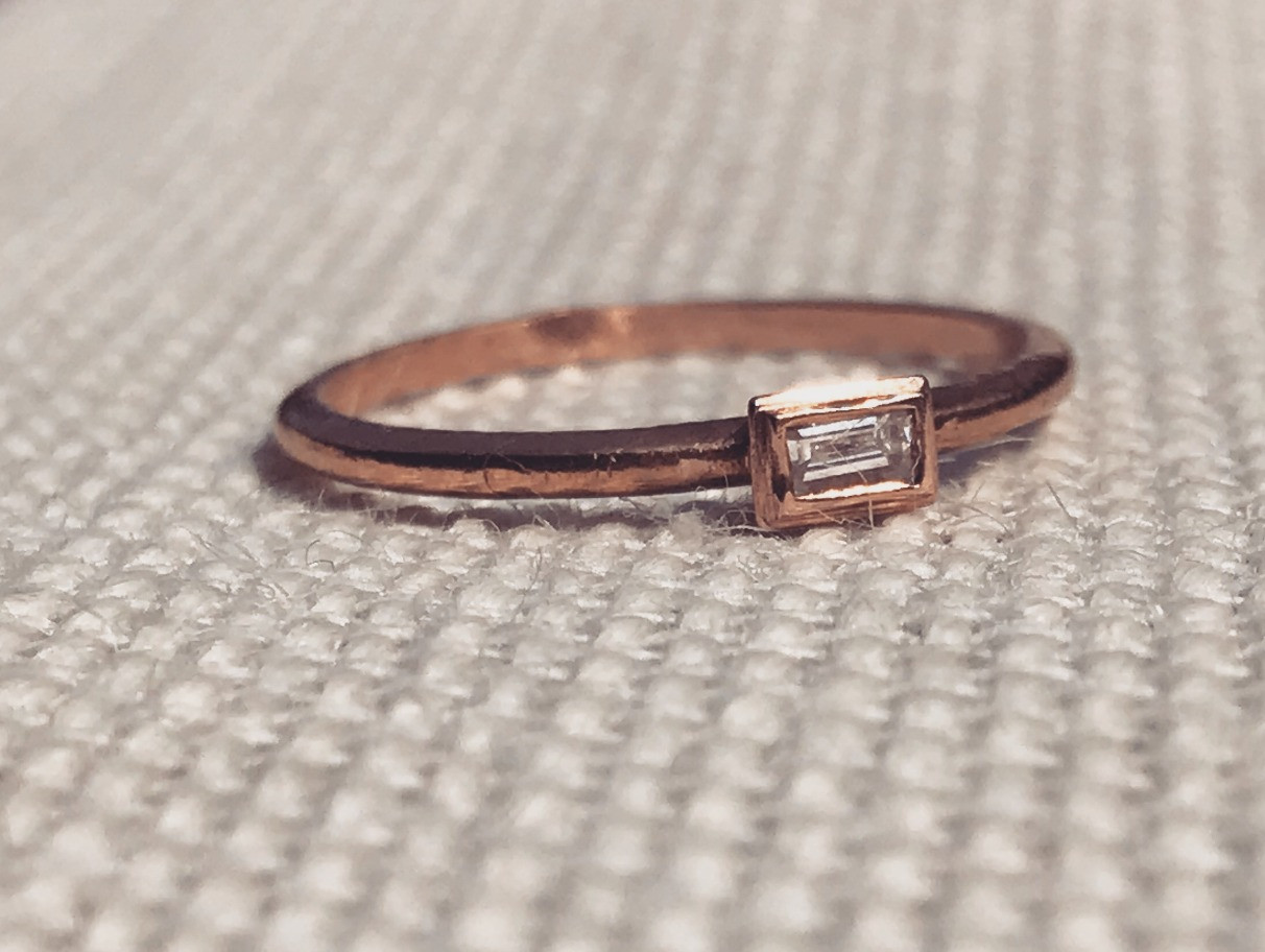 Rectangle Diamond and Rose Gold Band