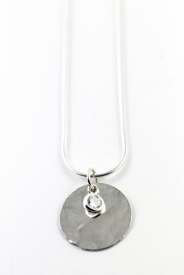 Silver Disc with CZ Pendant