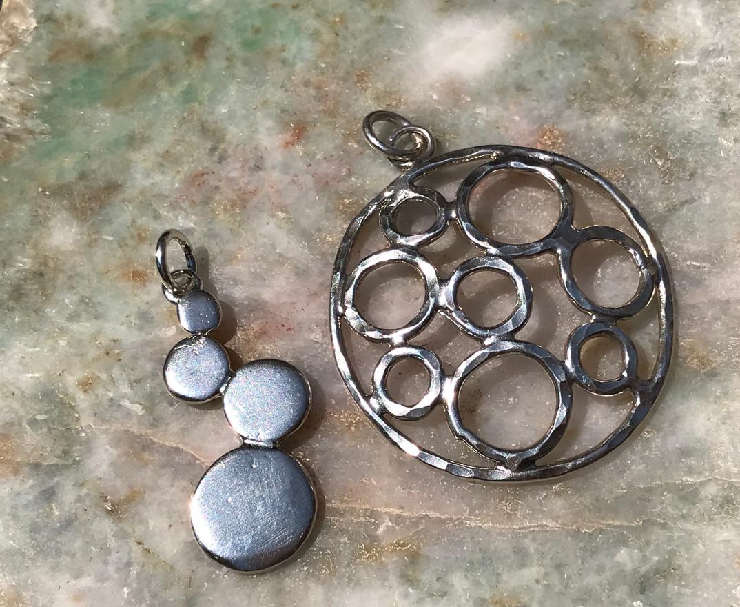 Silver Bubble pendant & Silver Circle