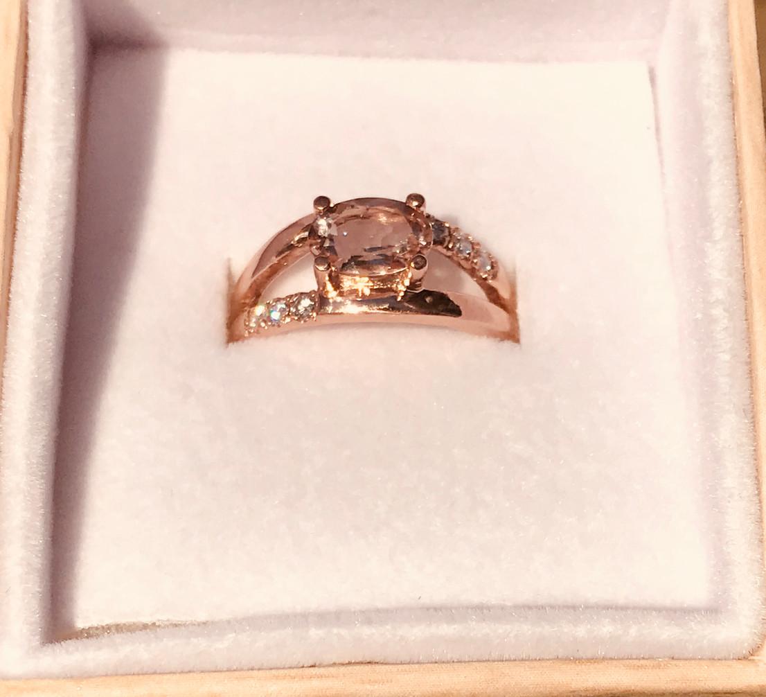 Morganite and Diamonds set in Rose Gold