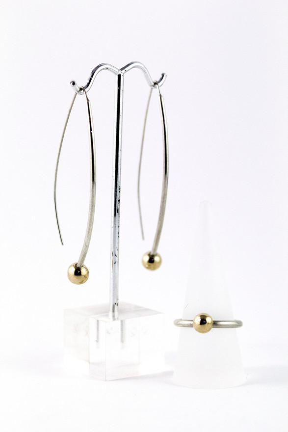 Hand made Gold beads and silver earrings