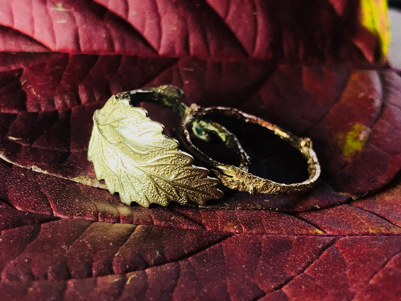 Green Gold Branch Rings