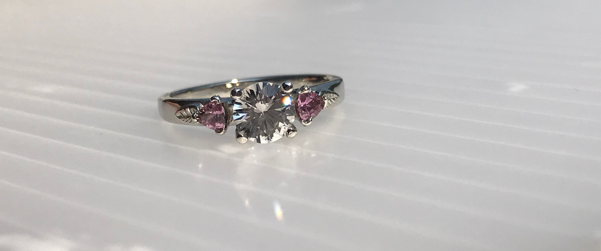 White and Purple Sapphires set in White Gold