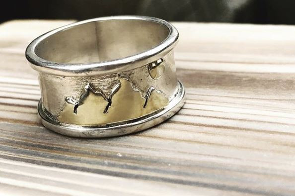 Gold Mountains & Moon on Sterling Silver