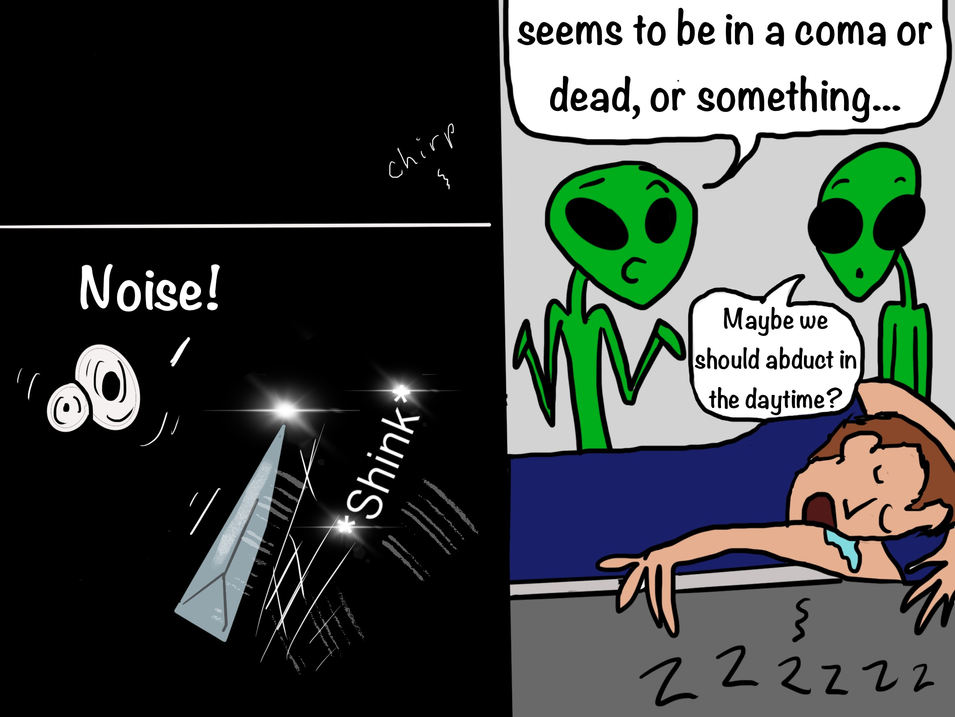 Cartoon about sleeping, traveling, insomnia, aliens.