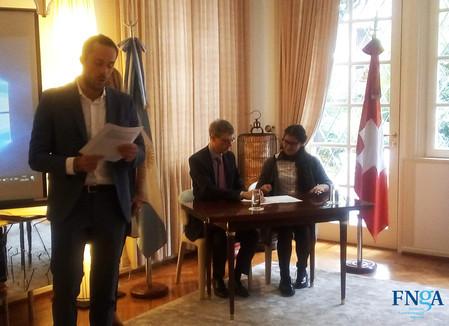 Reconocimiento de la Embajada de Suiza a proyecto de la FNGA