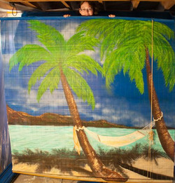 3rd panel of a three panel Custom Beach Mural.jpg.jpg.jpgacrylics on 6' plastic roll-up screen shade