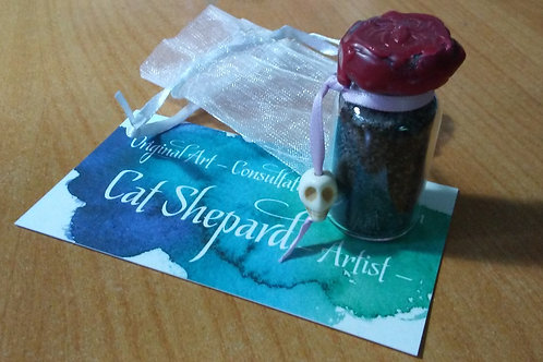 Ritual Salts with Blackened Herbal Amulets