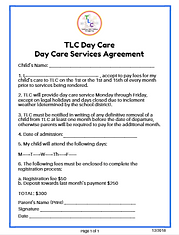 Day Care Services Agreement Form Image.P