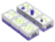 The six IQube purple input cubes