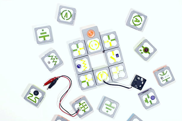 Top view of scattered IQube cubes