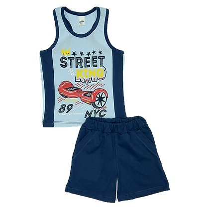 костюм летний шорты с майкой для мальчиков синий