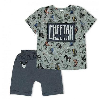 костюм с шортами и футболкой для мальчика с принтом жирафа серый