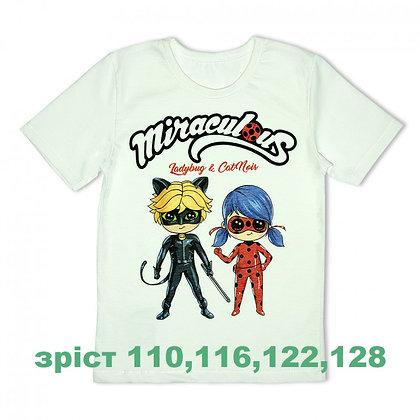 футболка детская с героем ЛедиБаг белая