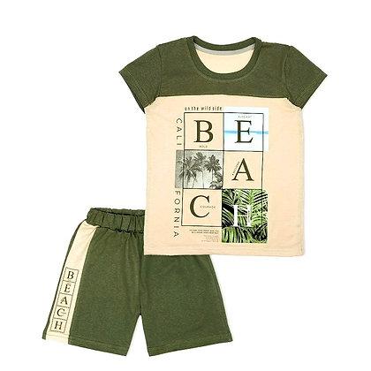 комплект для мальчика футболка и шорты хаки