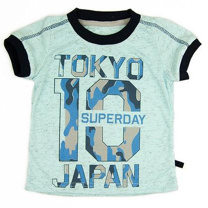 футболка детская с принтом голубая