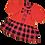 красное платье в клетку с бантом для девочки