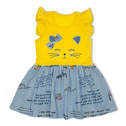 платье сарафан для девочки рукав рюши желтый