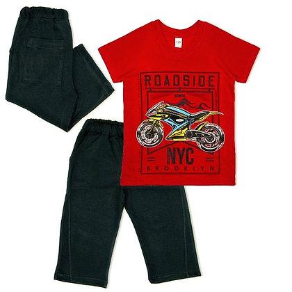 комплект для мальчика летний удлиненные шорты красный