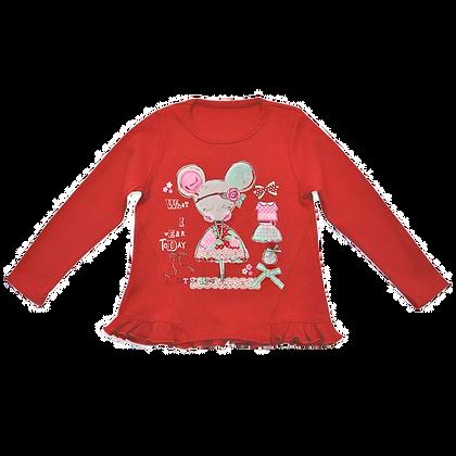 детская трикотажная кофточка с длинным рукавом красная