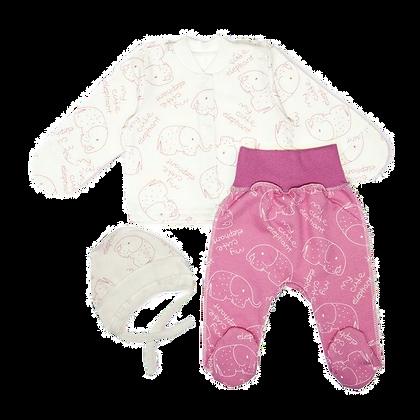 костюм для новорожденного слоники розовый