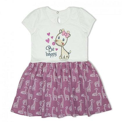 Платье для девочки с принтом жираф розовое