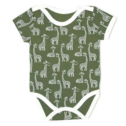 бодик с коротким рукавом с принтом жираф зеленый