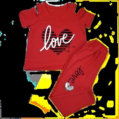 костюм для девочки со штанами и футболкой с открытыми плечами красный
