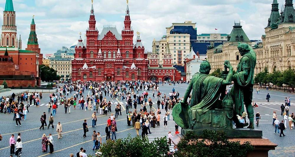 الميدان الاحمر في مدينة موسكو الروسية
