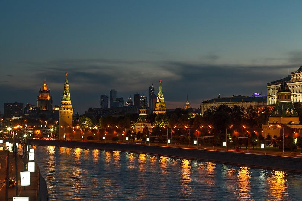 مدينة موسكو أثناء الليل