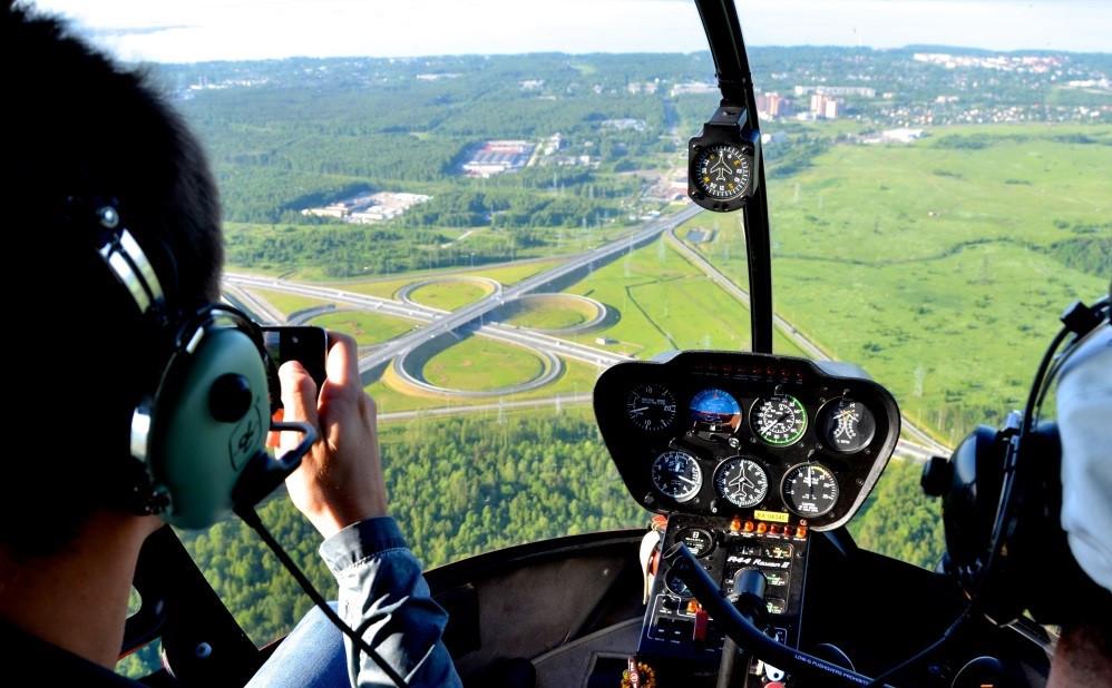 جولة سياحية على متن المروحية في روسيا