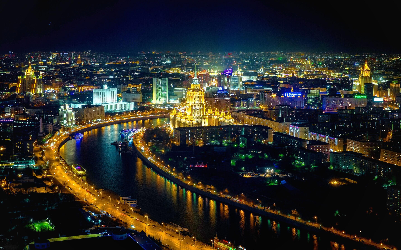 منظر عام لمدينة موسكو ليلا