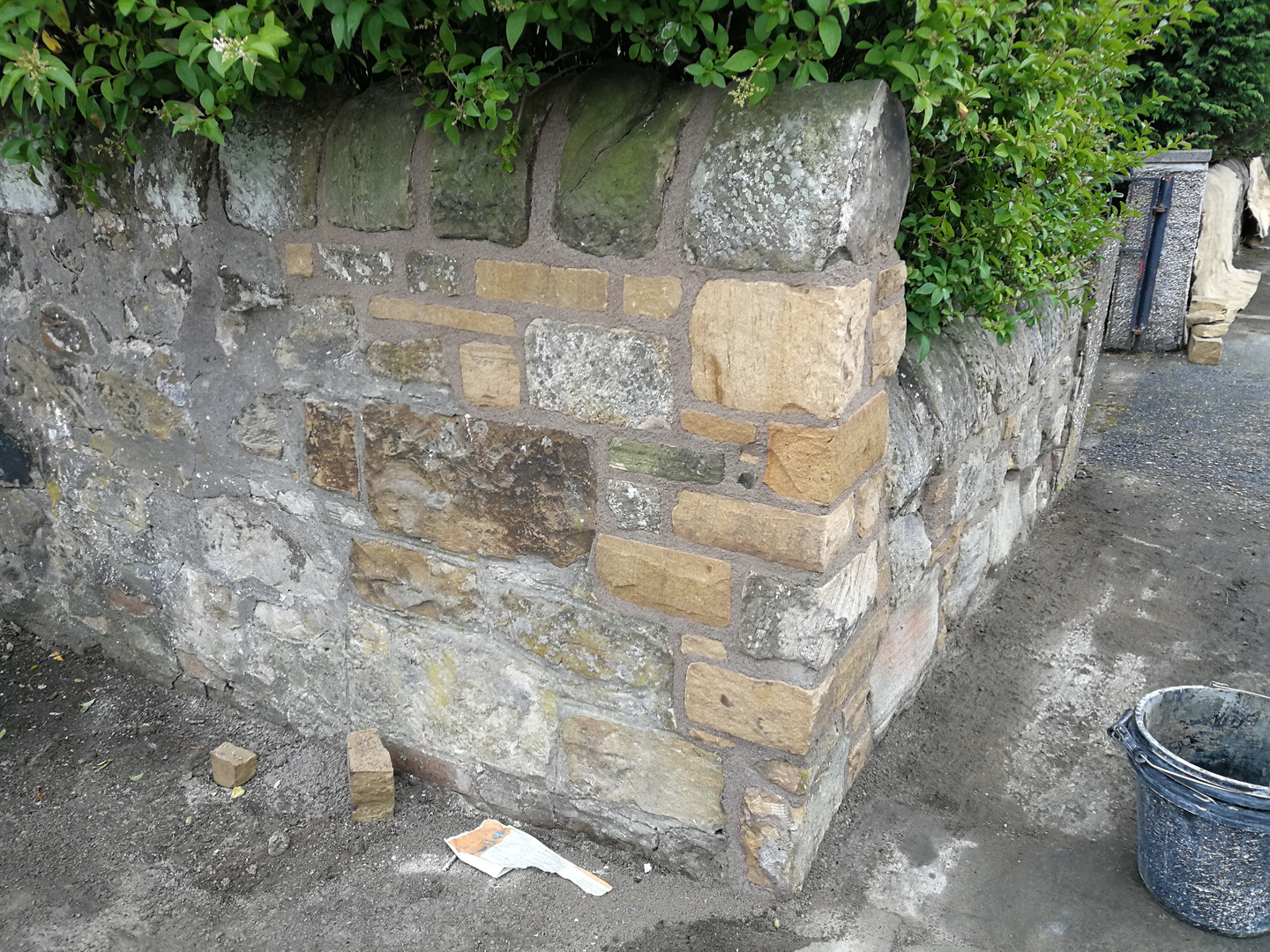 Rebuilt with lime mortar