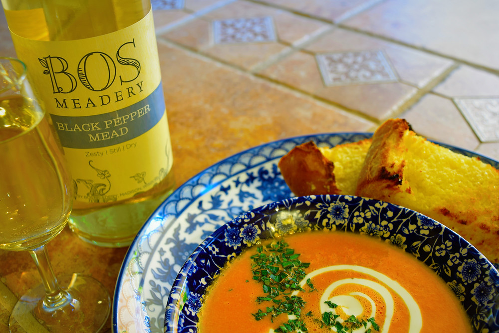 The Art of Mead Tasting and Food Pairing Bos Meadery Red Pepper Bisque recipe mead pairing