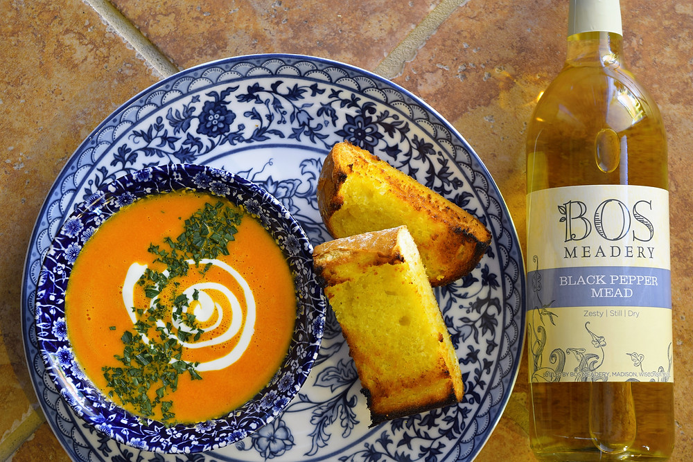 The Art of Mead Tasting and Food Pairing mead pairing Bos Meadery red pepper bisque recipe