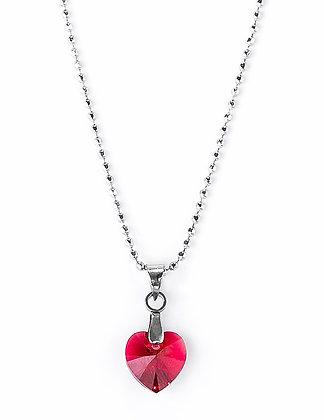 Collier coeur rubis