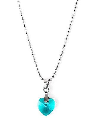Collier coeur zircon bleu