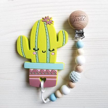 Duo Attache + Jouet dentition - Cactus
