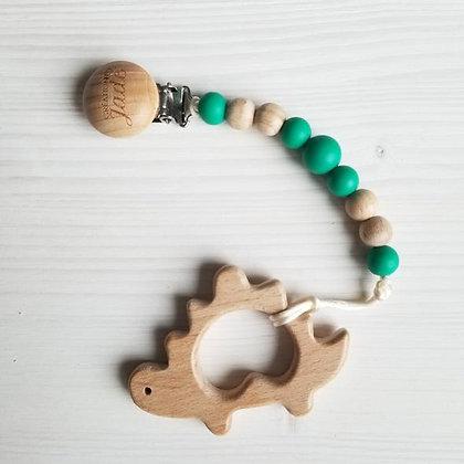 Duo Attache-suce + jouet bois - Dino Émeraude