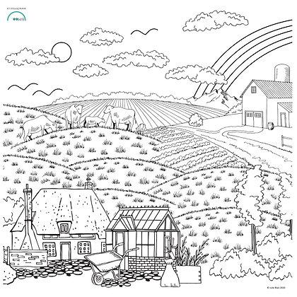 Paysage de campagne - Nappe à colorier BiMoo