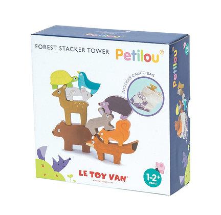 Le Toy Van - Animaux de la forêt empilables en bois et pochette en tissu